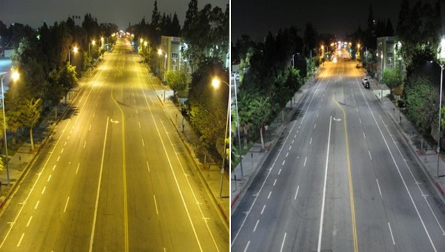 Los Angeles street lights before and after the switch to LEDs