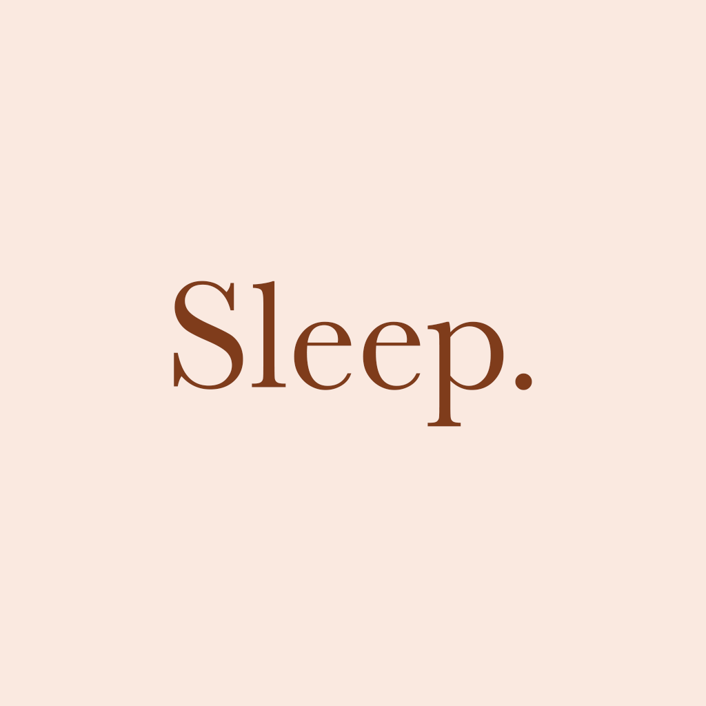 "Graphic with the text ""Sleep."" on it."